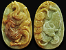 Jadeite  Serpent-Rooster Cameo Translucent